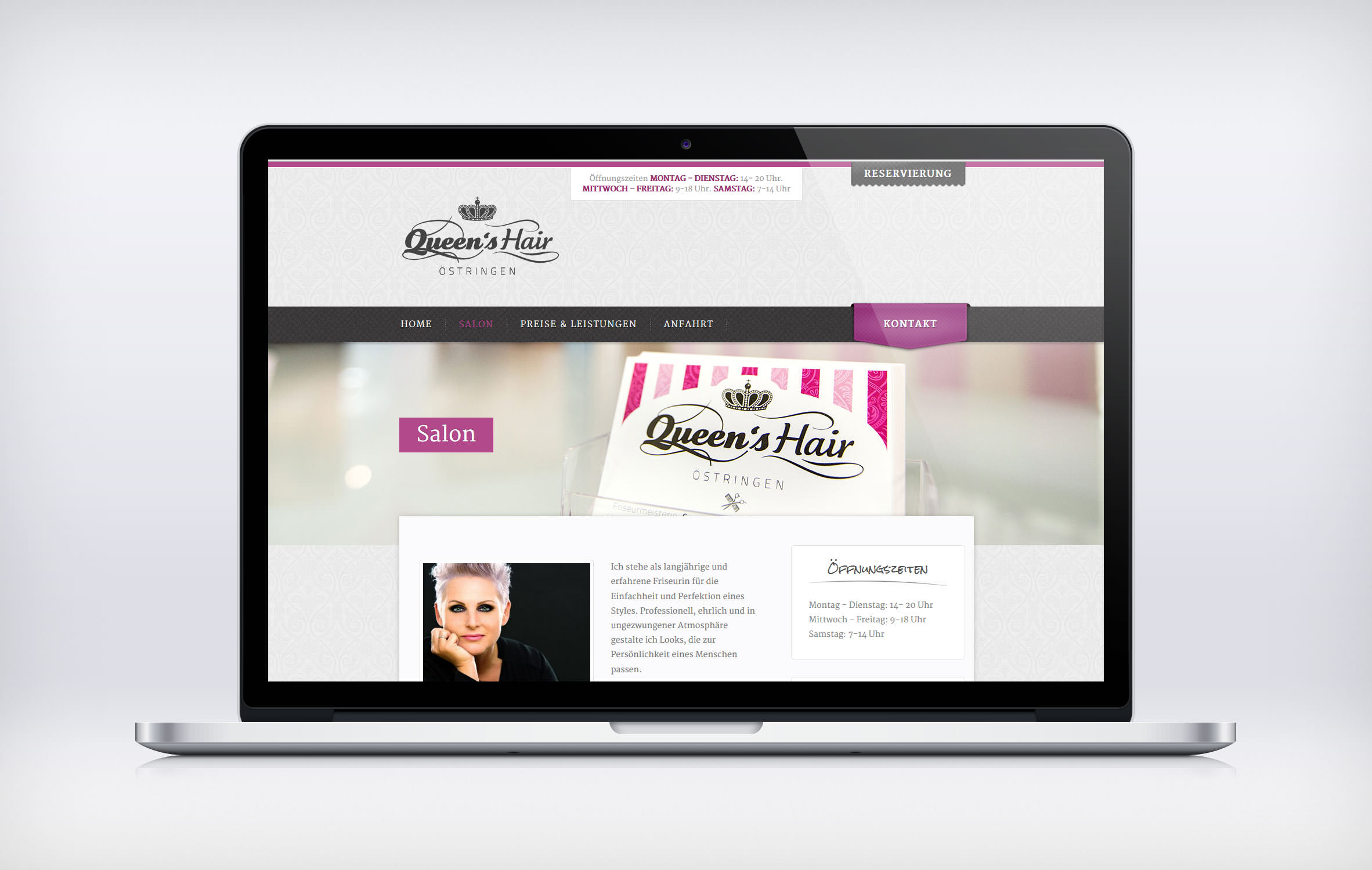 Folgeseite Queen's Hair - Respnsive Website