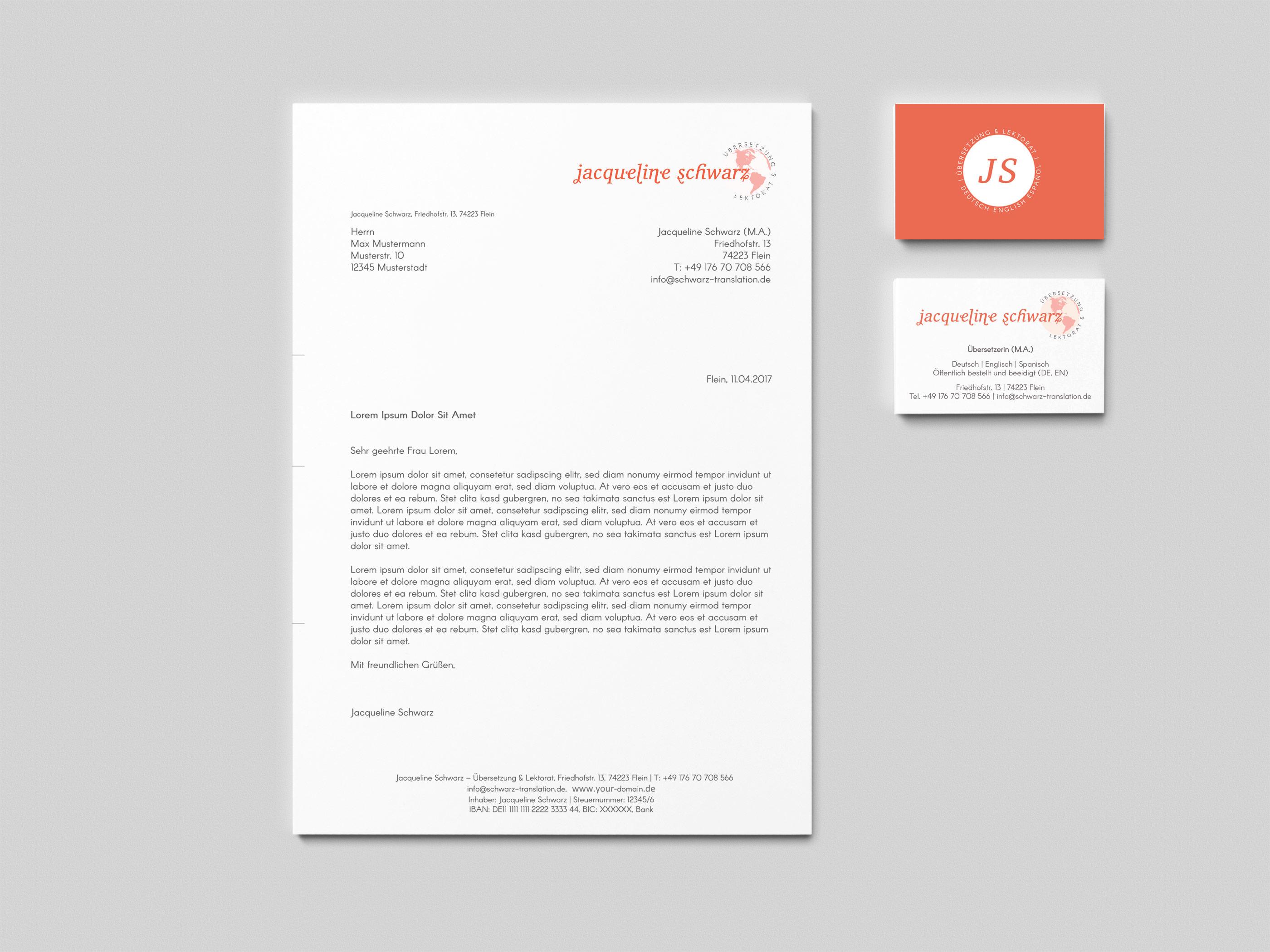 Briefpapier und Visitenkarten Gestaltung Design Entwurf