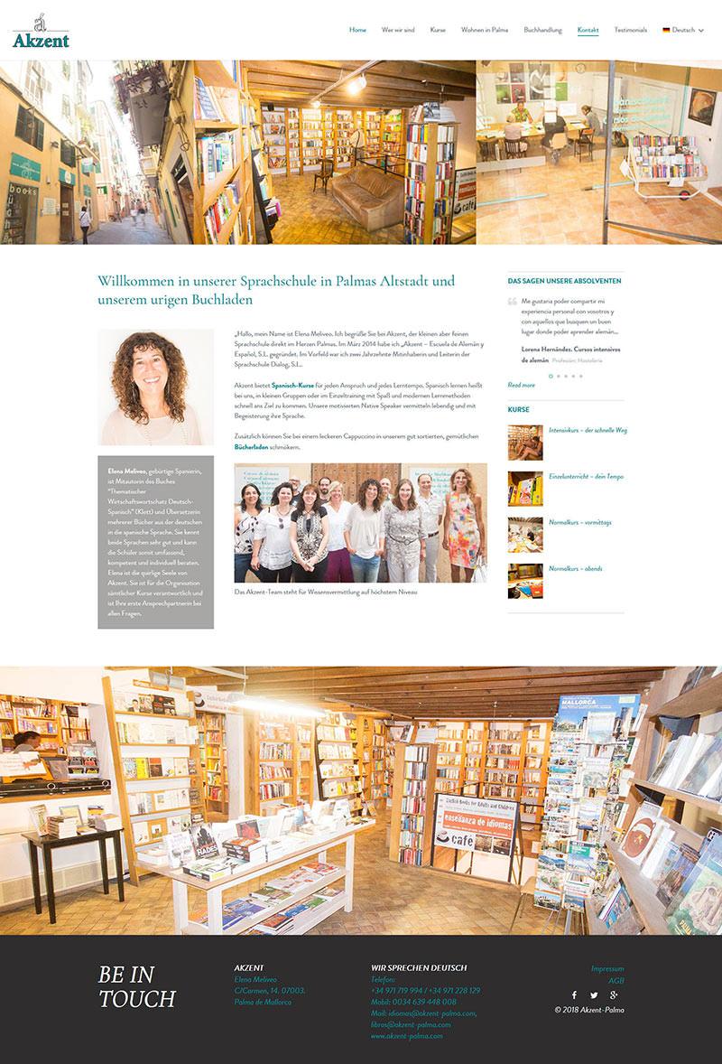 Webdesign – Startseite Akzent Palma – Sprachschule auf Palma de Mallorca Spanien
